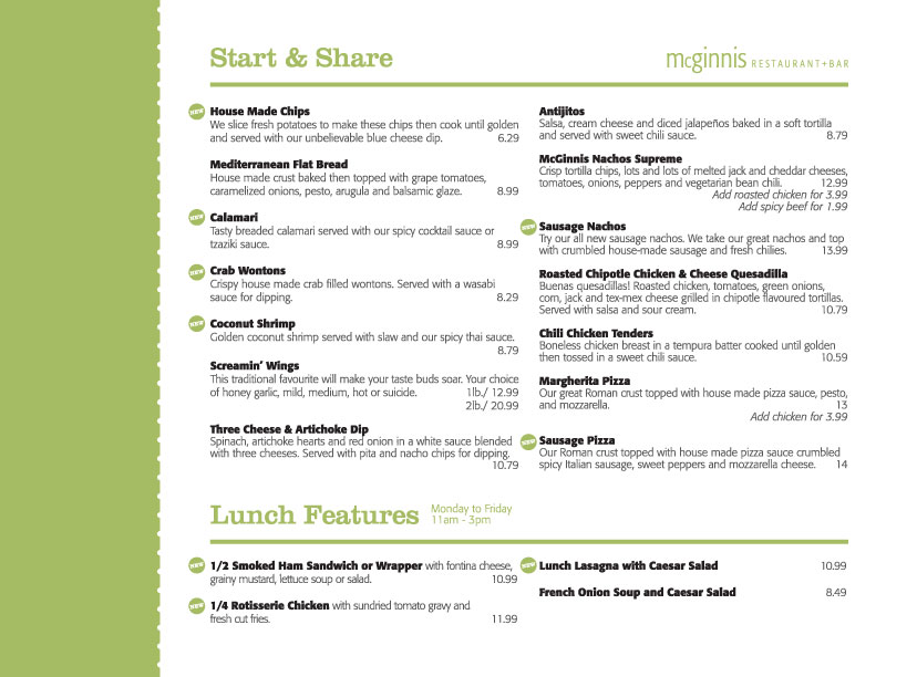 Mcginnis Landing Menu - Page 1!